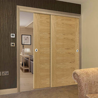 Image: Thruslide Brisa Ostria Flush Oak 2 Sliding Doors and Frame Kit - Prefinished