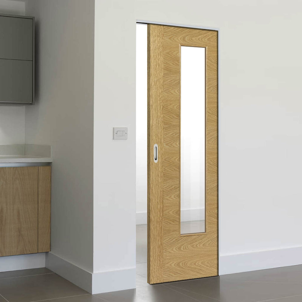 Ostria Oak Absolute Evokit Pocket Door - Clear Glass - Prefinished