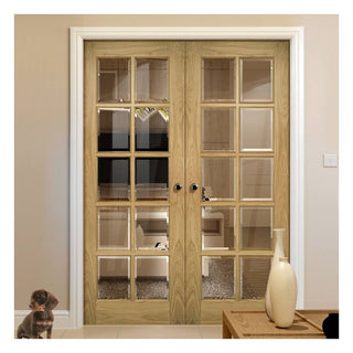 Image: Deanta Bristol Oak Unfinished Door Pair with 10 Pane Clear Bevelled Safety Glass