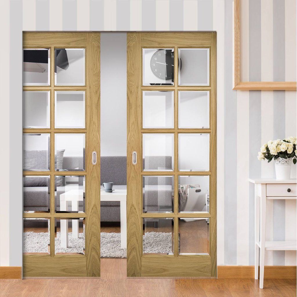 Bristol Oak Absolute Evokit Double Pocket Doors - 10 Pane Clear Bevelled Glass - Unfinished