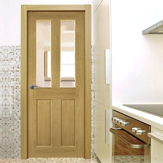 Image: Bury Real American White Oak Crown Cut Veneer Door - Clear Bevelled Glass - Prefinished from Deanta UK