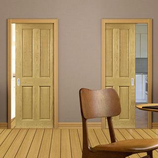 Image: Bury Real American White Oak Crown Cut Veneer Unico Evo Pocket Doors - Prefinished