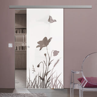 Image: Single Glass Sliding Door - Butterfly 8mm Obscure Glass - Clear Printed Design with Premium Track