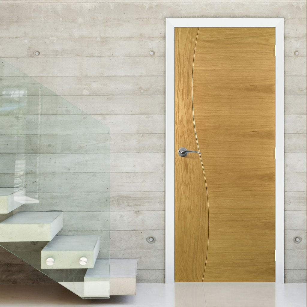 Cadiz Real American White Oak Crown Cut Veneer Fire Door - Prefinished - 1/2 Hour Fire Rated