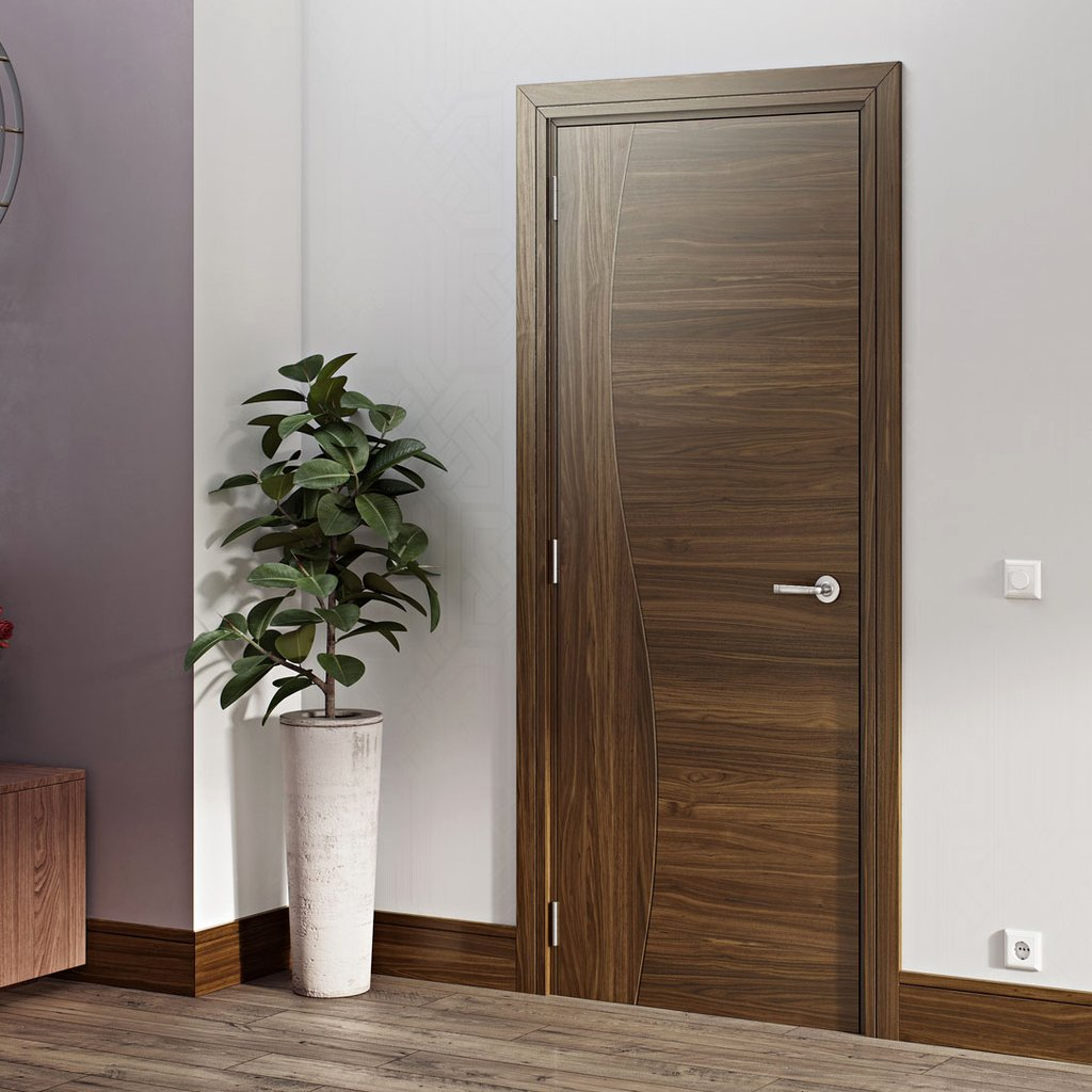 Contemporary Design Cadiz Prefinished Walnut Door