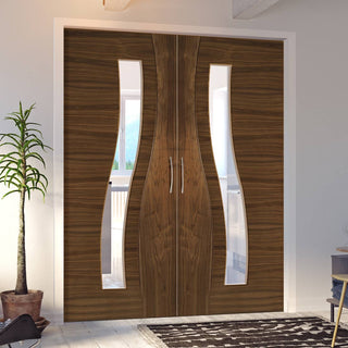 Image: Contemporary Design Cadiz Walnut Prefinished Door Pair - Clear Glass