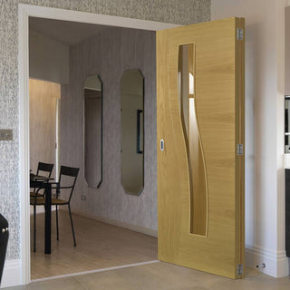 Image: Two Folding Doors & Frame Kit - Cadiz Oak 2+0 - Clear Glass - Prefinished