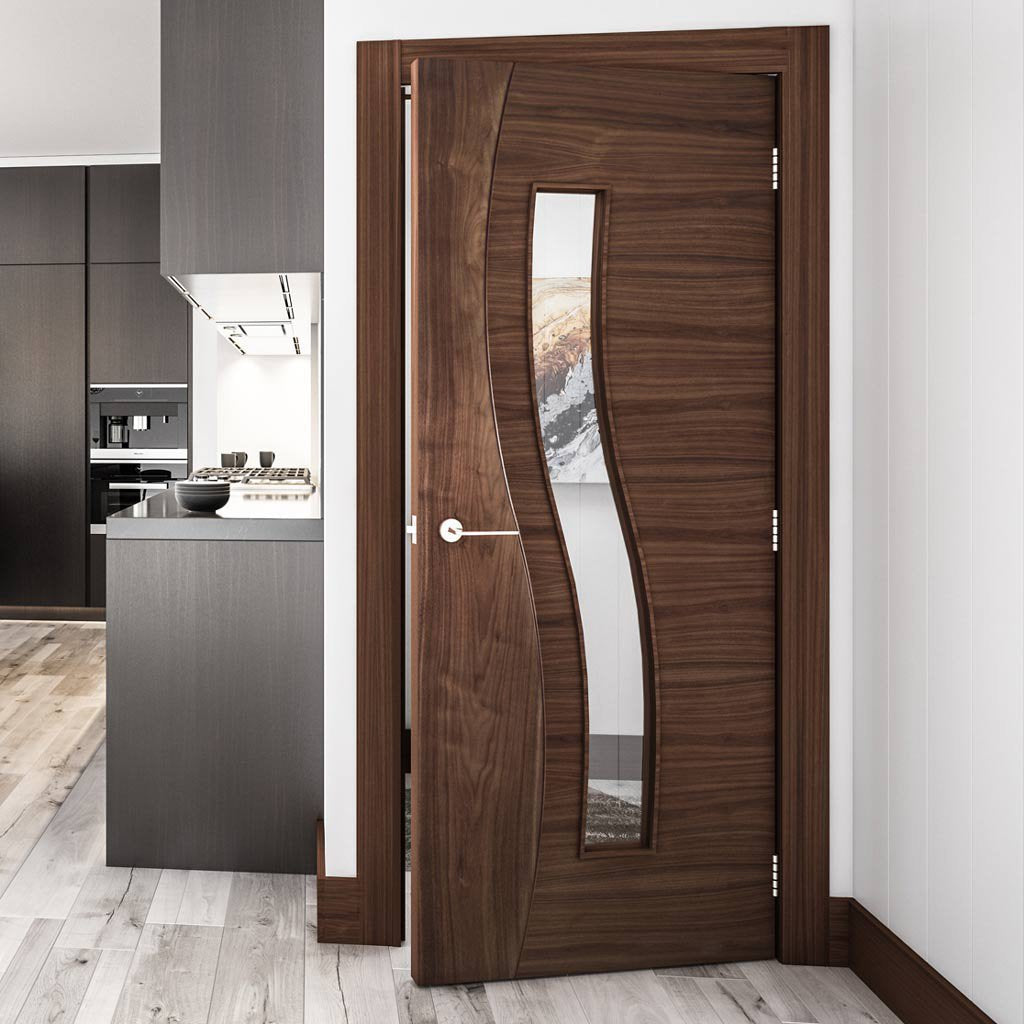 Deanta Contemporary Design Cadiz Prefinished Walnut Door with Clear safety Glass