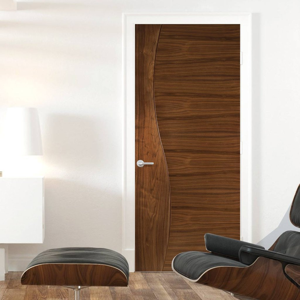 Contemporary Design Cadiz Walnut Prefinished Fire Door - 1/2 Hour Fire Rated