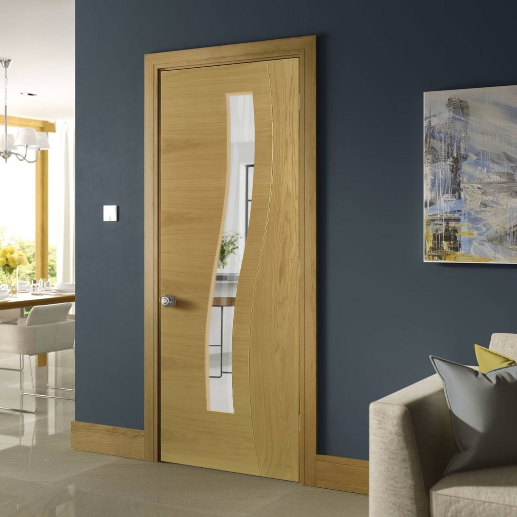 Cadiz Real American White Oak Crown Cut Veneer Door - Clear Glass - Prefinished
