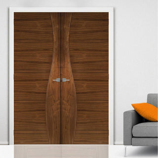 Image: Contemporary Design Cadiz Walnut Prefinished Fire Door Pair - 1/2 Hour Fire Rated