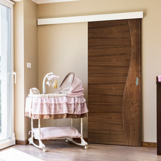 Image: Single Sliding Door & Wall Track - Contemporary Design Cadiz Prefinished Walnut Door