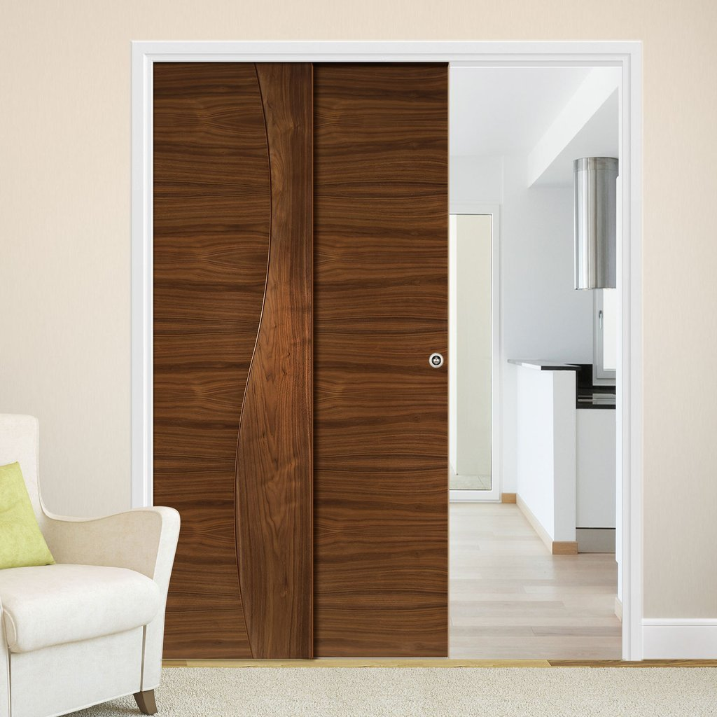 Contemporary Design Cadiz Walnut Veneer Staffetta Twin Telescopic Pocket Doors - Prefinished