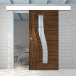 Image: Single Sliding Door & Wall Track - Contemporary Design Cadiz Prefinished Walnut Door - Clear Glass