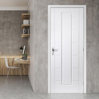 Image: White PVC cairngorm lightly grained panel door
