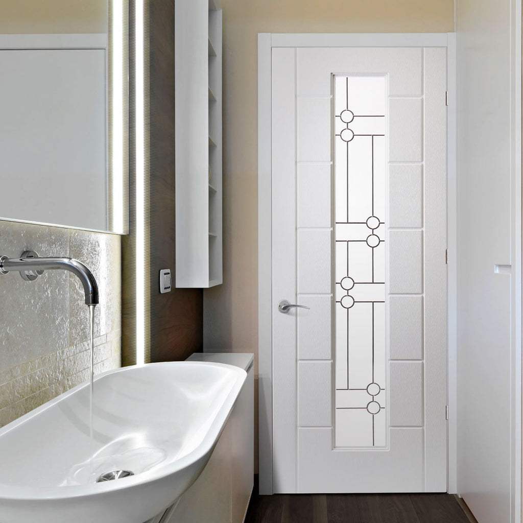White PVC cairngorm lightly grained door linton style glass