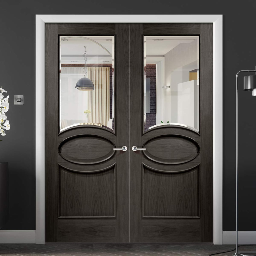 Prefinished Calabria Oak Panel Door Pair - Bevelled Clear Glass - Choose Your Colour