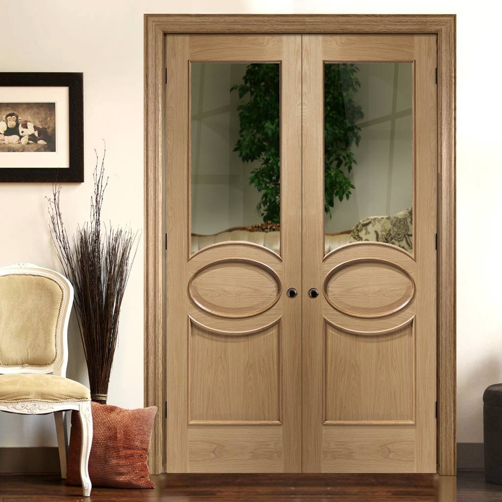 Bespoke Calabria Oak Glazed Door Pair