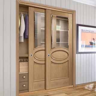 Image: Bespoke Thruslide Calabria Oak Glazed 2 Door Wardrobe and Frame Kit