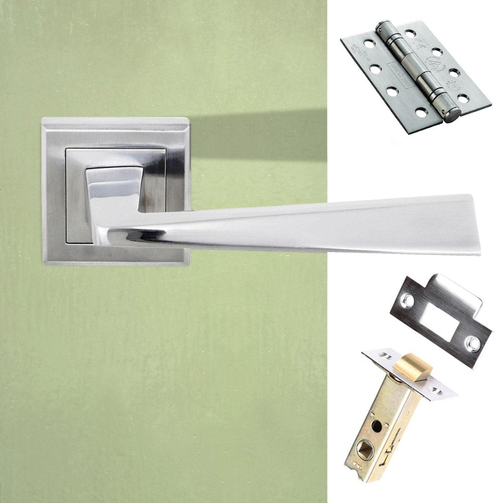 California Status Fire Lever on Square Rose - Satin Chrome Handle Pack