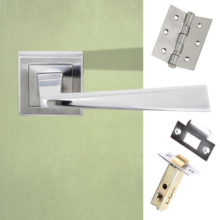 Image: California Status Lever on Square Rose - Satin Chrome Handle Pack