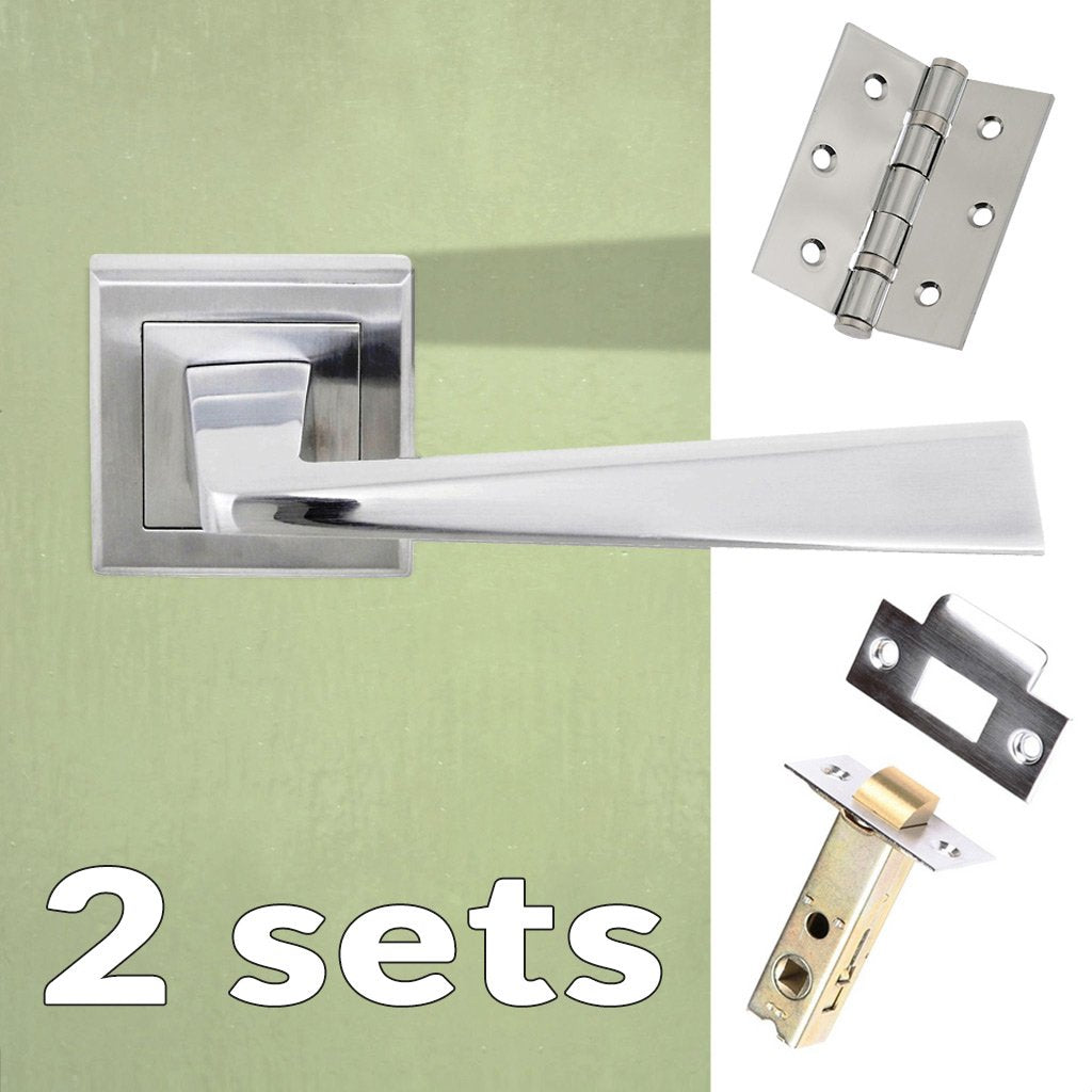Two Pack California Status Lever on Square Rose - Satin Chrome Handle