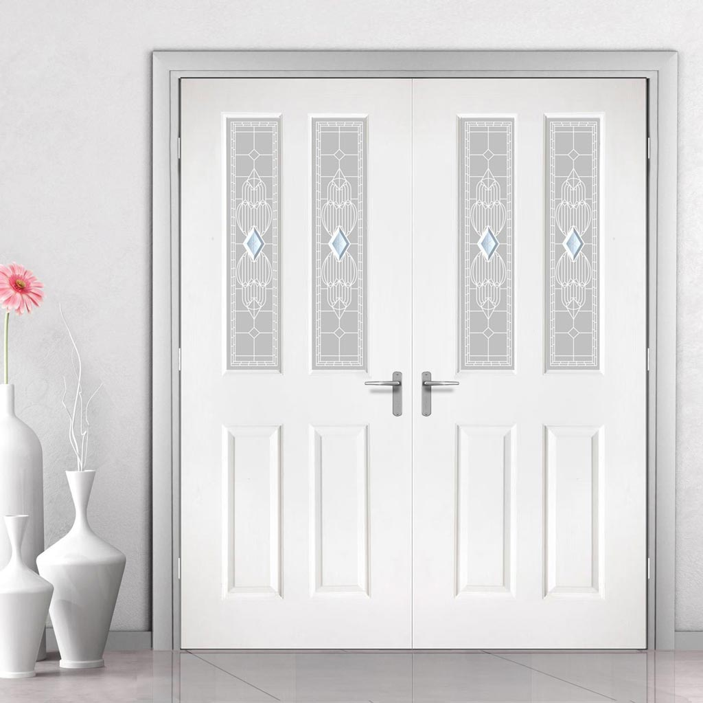 Grainger Grained PVC Door Pair - Callini Style Glass