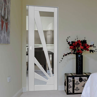Image: Calypso Aurora Shaker Absolute Evokit Pocket Door - Clear Glass - White Primed