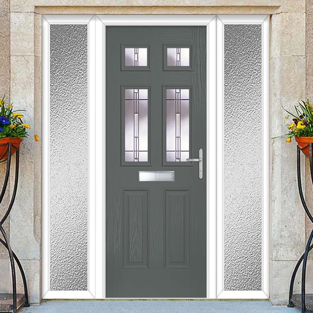 Premium Composite Entrance Door Set with Two Side Screens - Camarque 4 Barite Glass - Shown in Mouse Grey