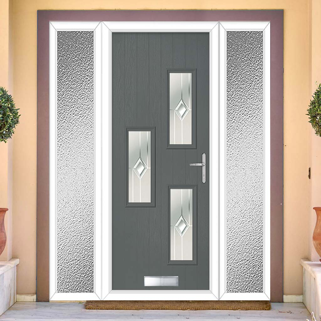 Cottage Style Cambridge 3 Composite Door Set with Double Side Screen - Hnd Roma Glass - Shown in Mouse Grey