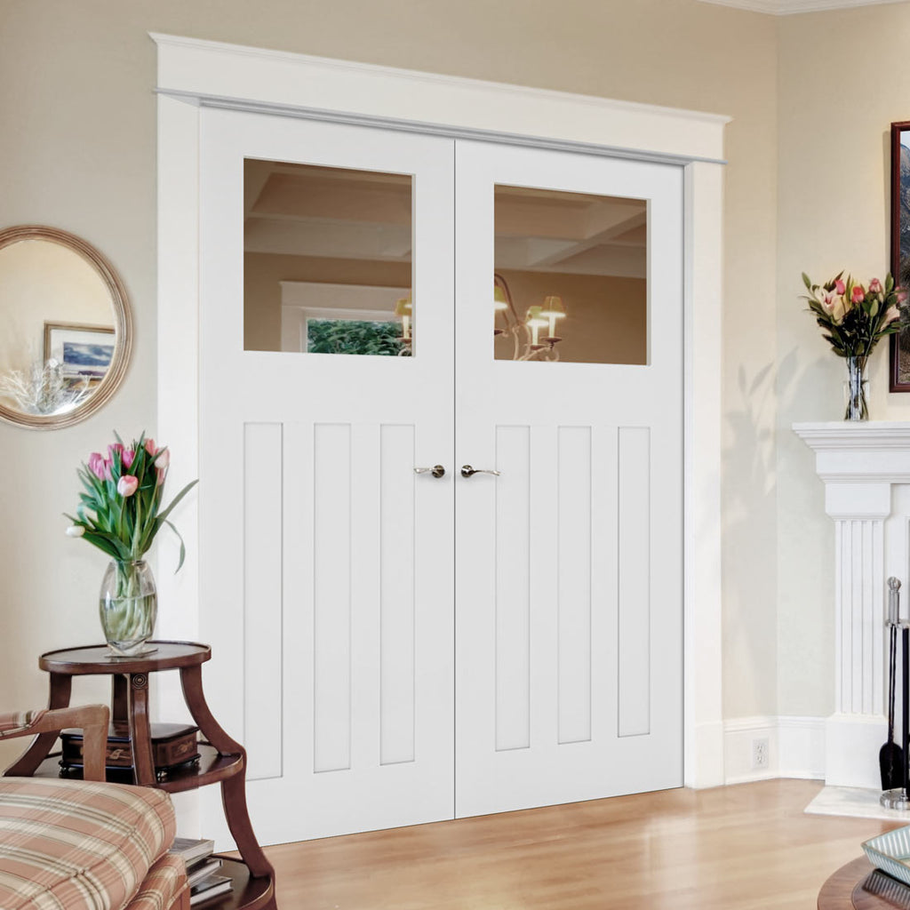 Cambridge White Primed Period Door Pair - Clear Glass