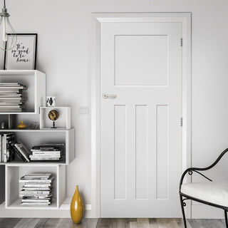 Image: Cambridge White Primed Panel Fire Door - 1/2 Hour Fire Rated