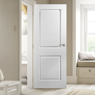 Image: JELD-WEN INTERNAL Cambridge 2 Panel Smooth Fire Door - Primed - Moulded Range