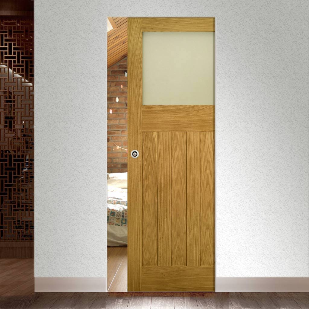 Cambridge Period Oak Absolute Evokit Single Pocket Door - Frosted Glass - Unfinished