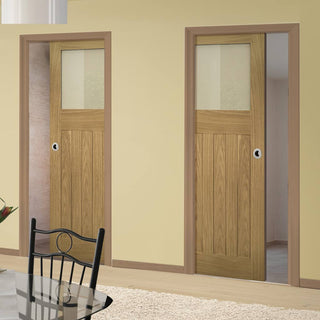 Image: Cambridge Period Oak Unico Evo Pocket Doors - Frosted Glass - Unfinished