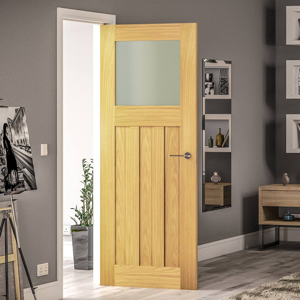 Cambridge period style oak door with frosted glass on top