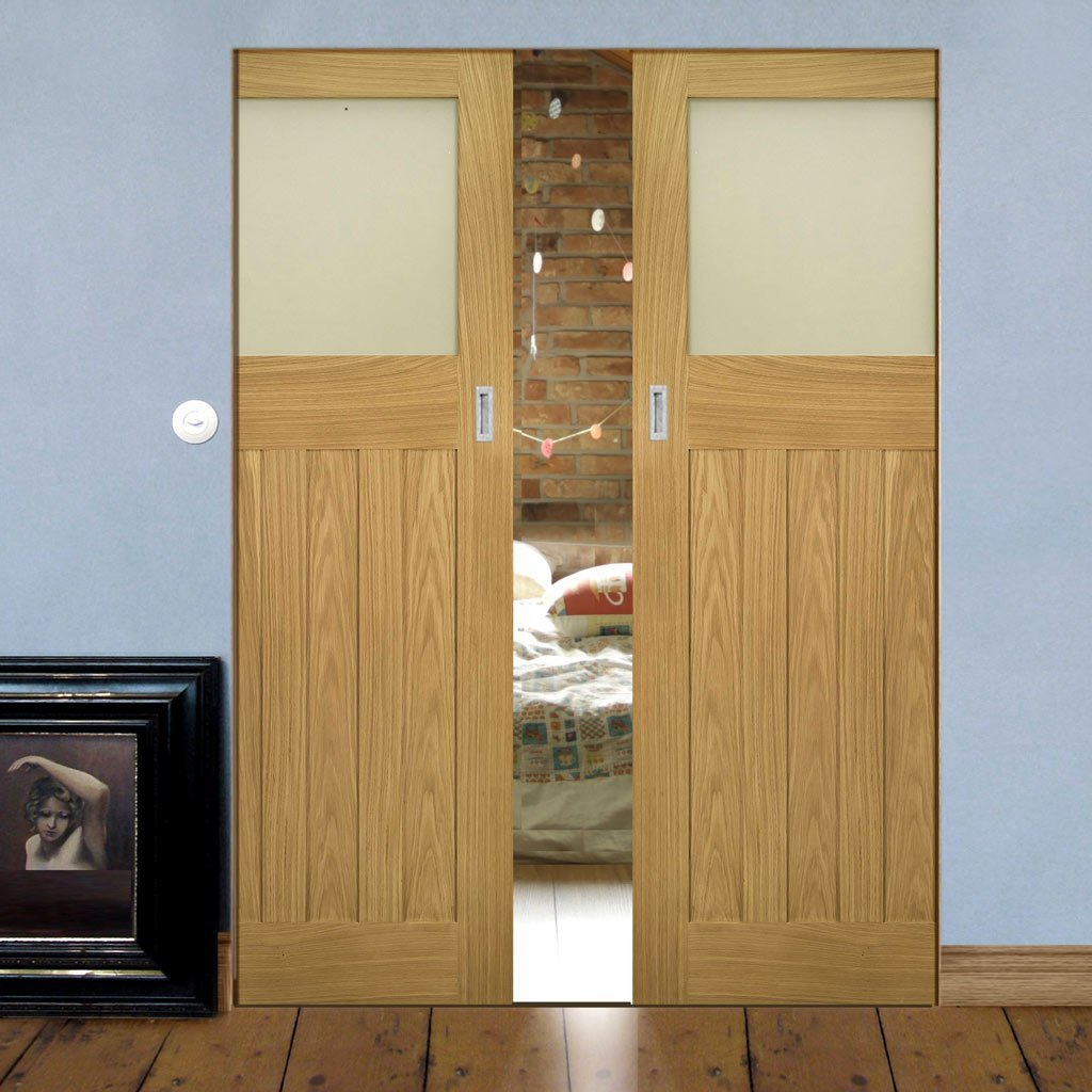 Cambridge Period Oak Absolute Evokit Double Pocket Doors - Frosted Glass - Unfinished