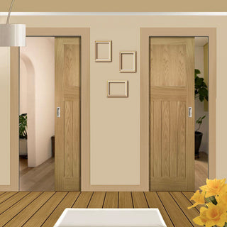 Image: Cambridge Period Oak Unico Evo Pocket Doors - Unfinished