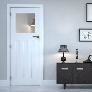 Image: Bespoke Cambridge White Primed Period Door - Clear Glass