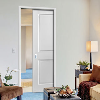 Image: JELD-WEN INTERNAL Cambridge Middleweight Single Evokit Pocket Door - Undercoated - Moulded Range