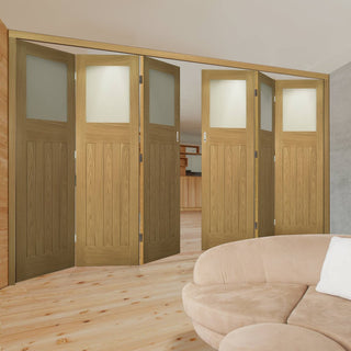 Image: Six Folding Doors & Frame Kit - Cambridge Period Oak 3+3 - Frosted Glass -  Unfinished