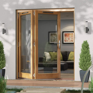 Image: Jeld-Wen Canberra Stained Oak Fold and Slide Solid Patio Doorset, OCAN18 2L, 2 Left, 1794mm Wide