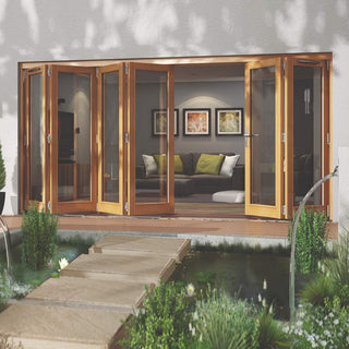 Image: Jeld-Wen Canberra Stained Oak Fold and Slide Solid Patio Doorset, OCAN42 4L2R, 4 Left - 2 Right, 4194mm Wide