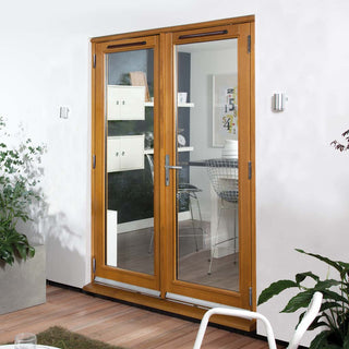 Image: Jeld-Wen Canberra Stained Oak French Patio Doorset