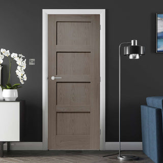 Image: Shaker style four panel oak veneer interior door