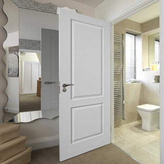 Image: J B Kind White Classic Caprice 2 Panel Primed Woodgrained Effect Fire Door - 1/2 Hour Fire