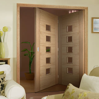Image: Two Folding Doors & Frame Kit - Carini 5L Oak 2+0 - Clear Glass - Prefinished