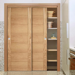Image: Bespoke Carini 7 Panel Oak Flush Door - 2 Door Wardrobe and Frame Kit - Prefinished
