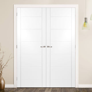 Image: Carolina Lightly Grained PVC Panel Door Pair