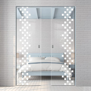 Image: Carrington 8mm Clear Glass - Obscure Printed Design - Double Absolute Pocket Door